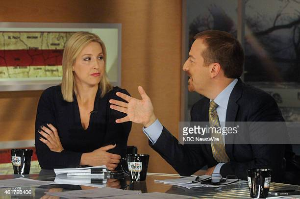 Carol Lee White House Correspondent The Wall Street Journal left and moderator Chuck Todd right appear on Meet the Press in Washington DC Sunday Jan...