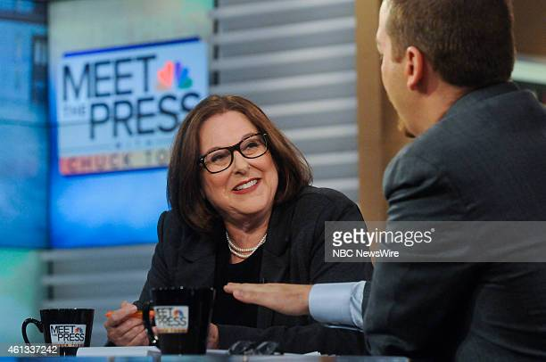Carol Rosenberg Reporter Miami Herald left and moderator Chuck Todd right appear on Meet the Press in Washington DC Sunday Jan 11 2015