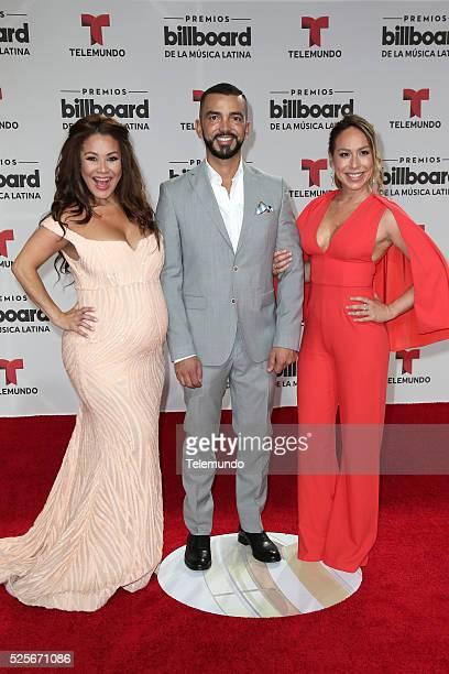 Pictured: Carolina Sandoval, Juan Manuel Cortes and Karla Gomez arrive at the 2016 Billboard Latin Music Awards at the BankUnited Center in Miami,...