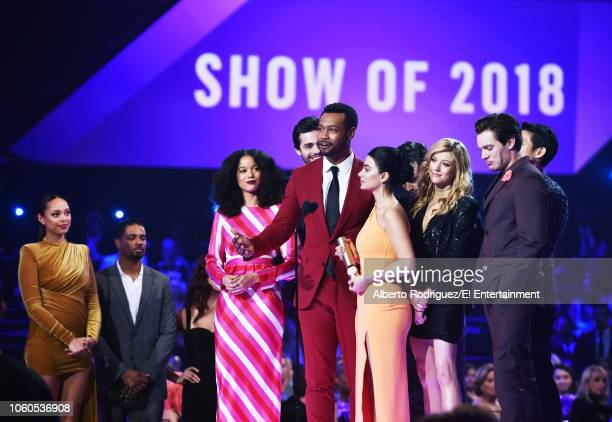 Cast of 'Shadowhunters' accepts The Show of 2018 award on stage during the 2018 E People's Choice Awards held at the Barker Hangar on November 11...