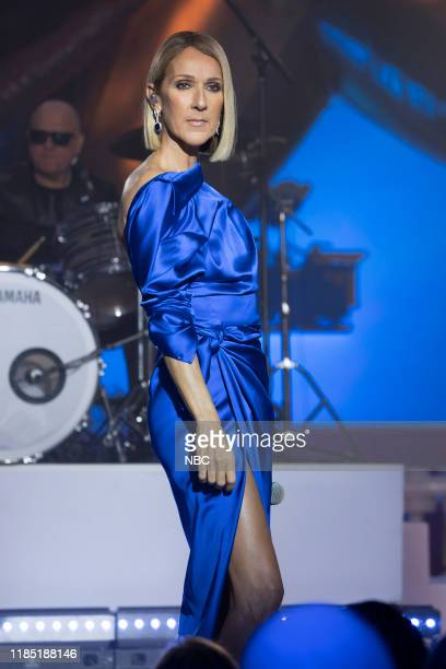 Pictured: Celine Dion rehearses for the 2019 Macy's Thanksgiving Day Parade --