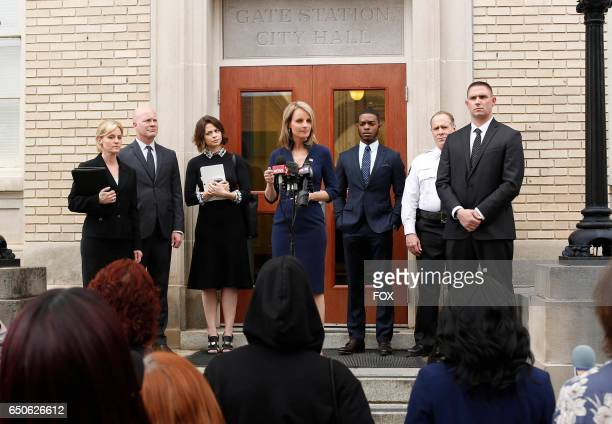 Pictured Center LR Conor Leslie Helen Hunt Stephan James and Will Patton in the Pilot premiere episode of SHOTS FIRED airing Wednesday March 22 on FOX