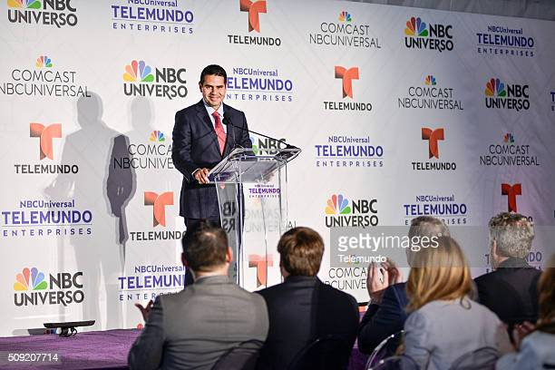 Cesar Conde Chairman NBCUniversal International Group and NBCUniversal Telemundo Enterprises speaks during the groundbreaking ceremony for...