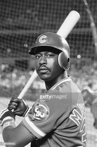 Chicago Cubs outfielder Gary Matthews at Shea Stadium in Queens NY for the 1984 World Series promos on September 7 1984