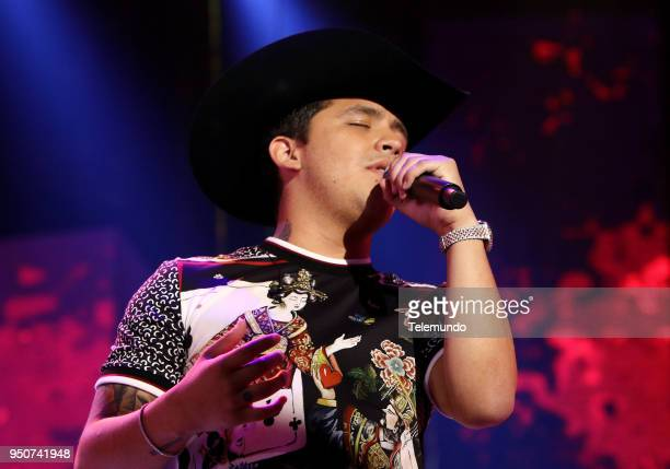 Christian Nodal performs during rehearsals at the Mandalay Bay Resort and Casino in Las Vegas NV on April 23 2018