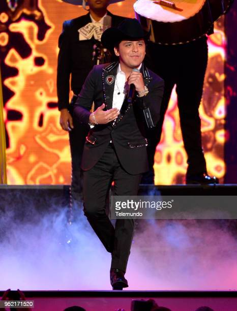 Christian Nodal performs on stage at the Mandalay Bay Resort and Casino in Las Vegas NV on April 26 2018