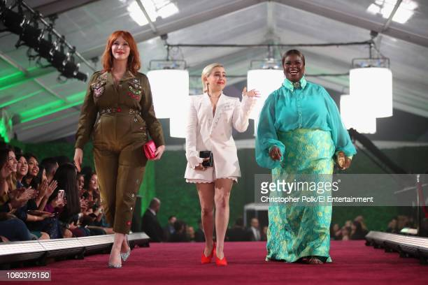 Christina Hendricks Mae Whitman and Retta arrive to the 2018 E People's Choice Awards held at the Barker Hangar on November 11 2018 NUP_185070