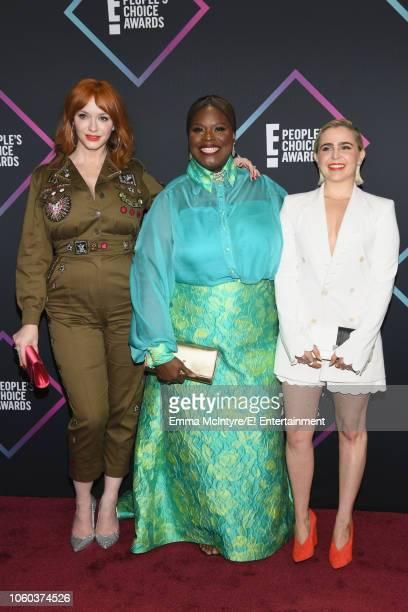 Christina Hendricks Retta and Mae Whitman arrive to the 2018 E People's Choice Awards held at the Barker Hangar on November 11 2018 NUP_185068