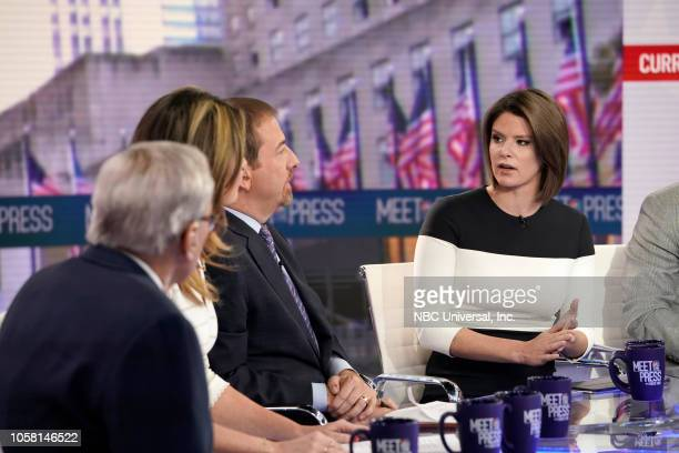Chuck Todd moderator Kasie Hunt NBC News Capitol Hill Correspondent Host MSNBC's Kasie DC appear on Meet the Press in New York NY Sunday Nov 4 2018