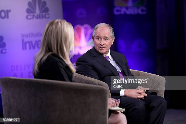 CNBCs Becky Quick moderates a keynote with Stephen A Schwarzman Chairman Chief Executive Officer and CoFounder Blackstone at the 6th annual CNBC...