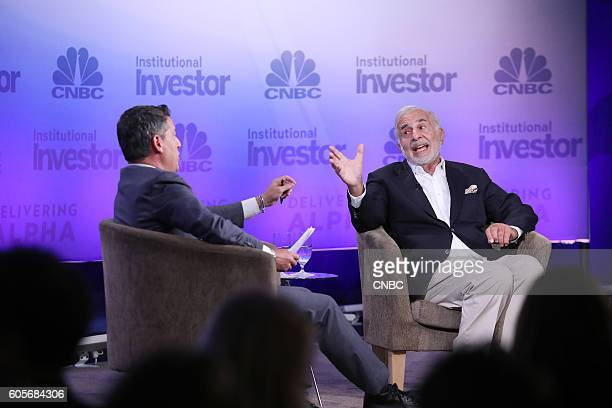 CNBC's Scott Wapner moderates a keynote with Carl Icahn Icahn Enterprises Chairman at the 6th annual CNBC Institutional Investor Delivering Alpha...