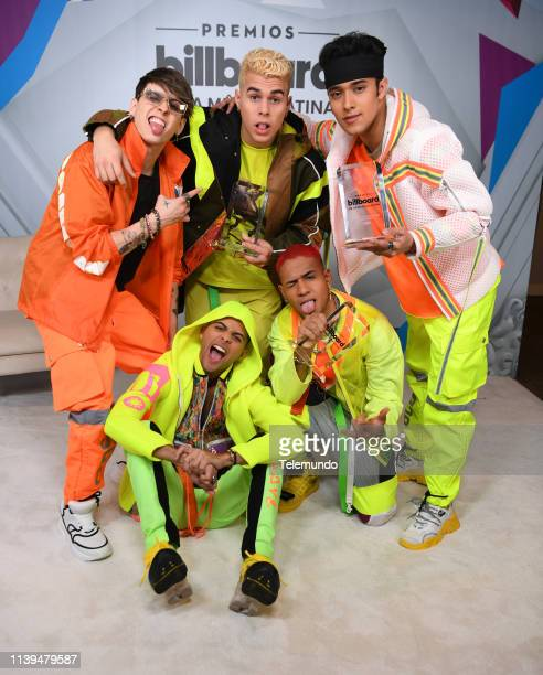 Pictured: CNCO, winners of Latin Pop Artist of the Year, Duo or Group, Latin Pop Album of the Year and Latin Rhythm Artist of the Year, Duo or Group,...