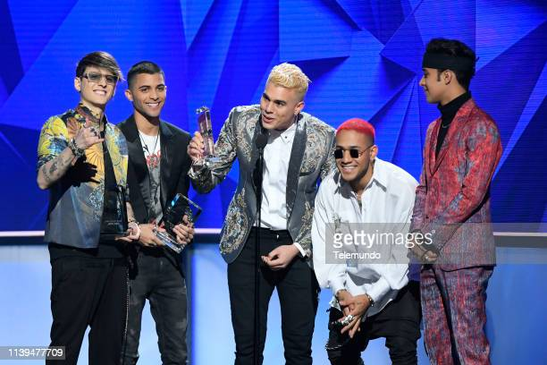 "Pictured: CNCO, winners of the ""Latin Pop Artist of the Year, Duo or Group"" award, at the Mandalay Bay Resort and Casino in Las Vegas, NV on April..."