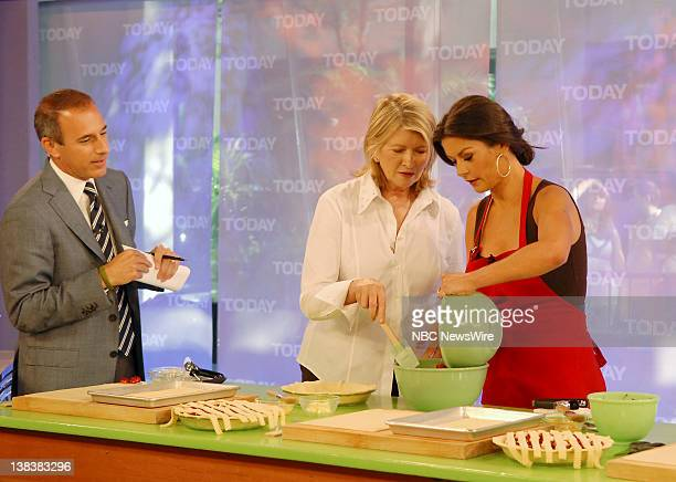 CoAnchor Matt Lauer Martha Stewart and actress Catherine ZetaJones cook in NBC News' TODAY kitchen while talking about her new movie No Reservations...