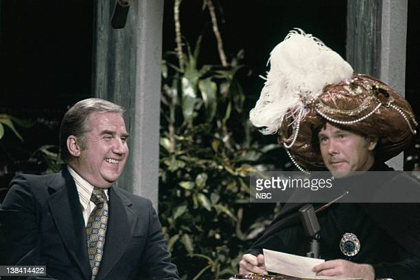 Cohost Ed McMahon with host Johnny Carson as Carnac the Magnificent