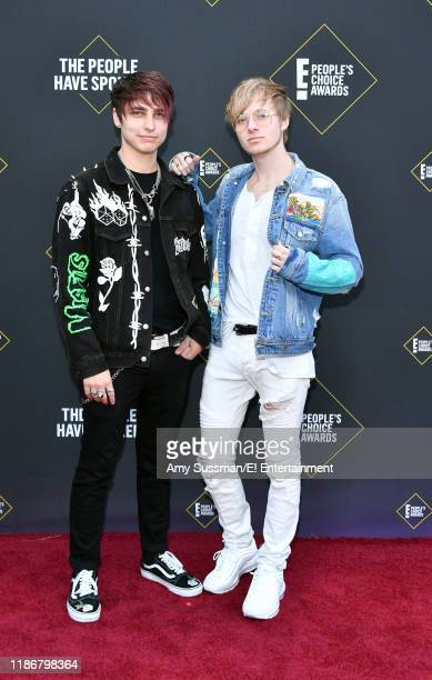 Colby Brock and Sam Golbach arrive to the 2019 E People's Choice Awards held at the Barker Hangar on November 10 2019 NUP_188989