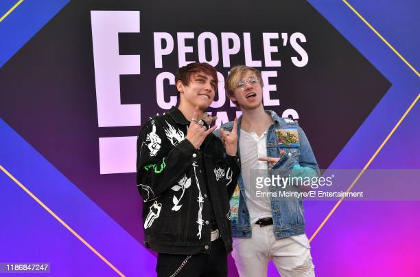 Colby Brock and Sam Golbach arrive to the 2019 E People's Choice Awards held at the Barker Hangar on November 10 2019 NUP_188994