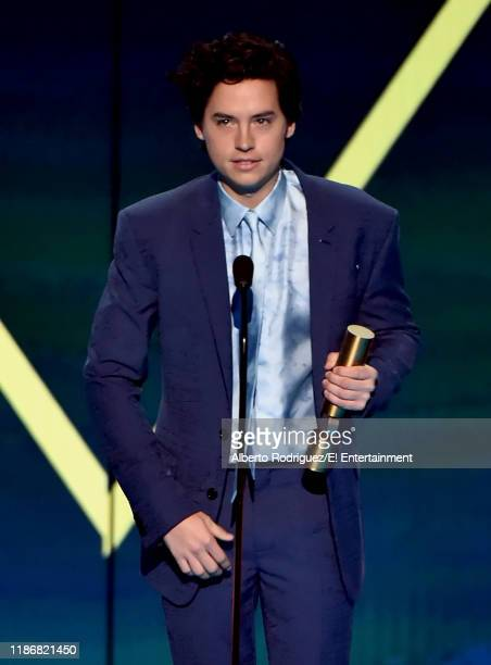 Cole Sprouse accepts The Drama Movie Star of 2019 award for 'Five Feet Apart' on stage during the 2019 E People's Choice Awards held at the Barker...