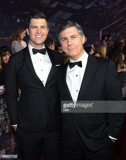 Colin Jost Chris Parnell walk the red carpet at the SNL 40th Anniversary Special at 30 Rockefeller Plaza in New York NY on February 15 2015