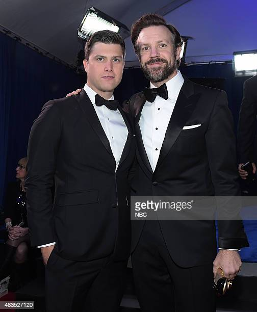 Colin Jost Jason Sudeikis walk the red carpet at the SNL 40th Anniversary Special at 30 Rockefeller Plaza in New York NY on February 15 2015