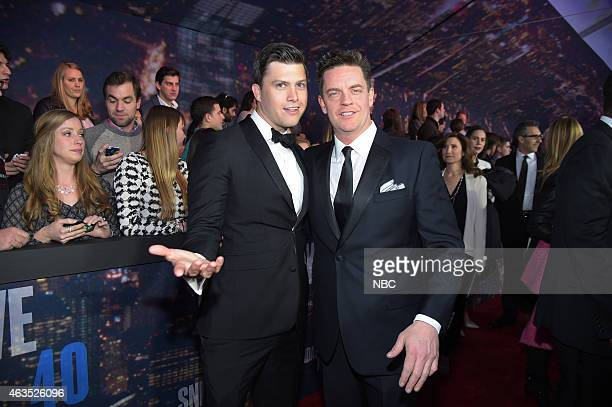 Colin Jost Jim Breuer walk the red carpet at the SNL 40th Anniversary Special at 30 Rockefeller Plaza in New York NY on February 15 2015