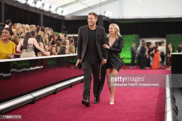 Colton Underwood and Cassie Randolph arrive to the 2019 E People's Choice Awards held at the Barker Hangar on November 10 2019 NUP_188992