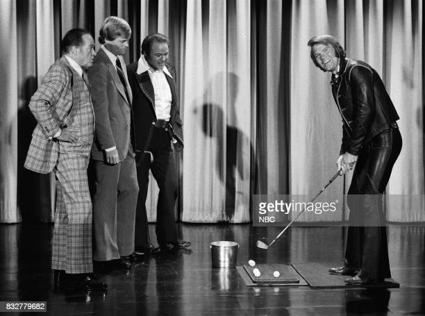 Comedian Bob Hope Golfer Johnny Miller and Guest Host Ray Clark watch Musician Glen Campbell swing a golf club on February 10th 1975