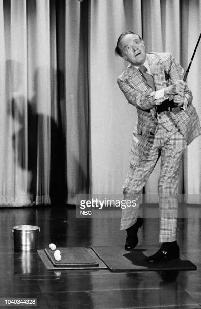 Comedian Bob Hope swinging a golf club on February 10th 1975
