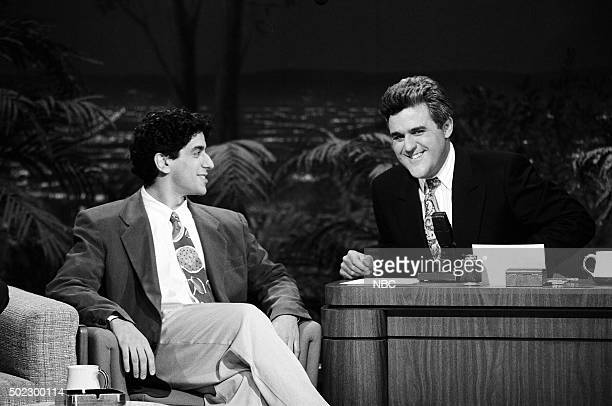 Comedian Jeff Cesario during an interview with guest host Jay Leno on April 19 1991