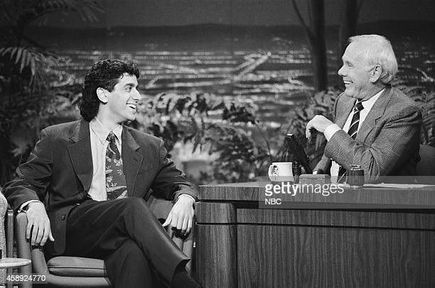 Comedian Jeff Cesario during an interview with host Johnny Carson on March 16 1990