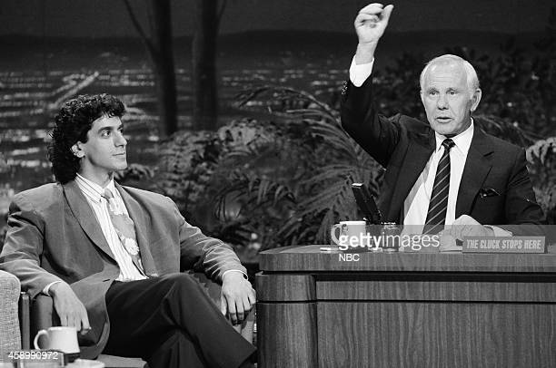 Comedian Jeff Cesario during an interview with host Johnny Carson on May 17 1990