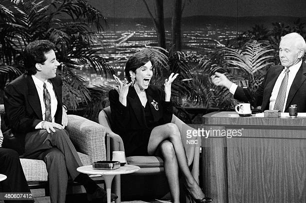 Comedian Jerry Seinfeld and actress Brooke Adams during an interview with host Johnny Carson on February 21 1991