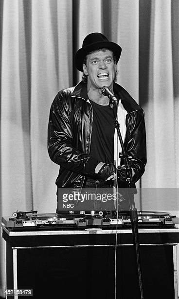 Comedian Joe Piscopo during the 'white boy rap' routine on October 23 1987