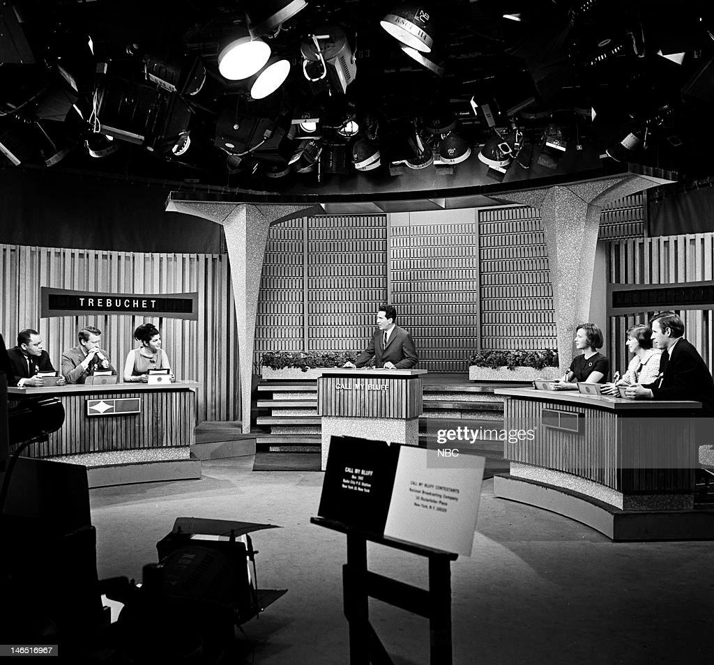 Contestant, celebrity contestant Tom Poston, contestant, host Bill Leyden, contestant --