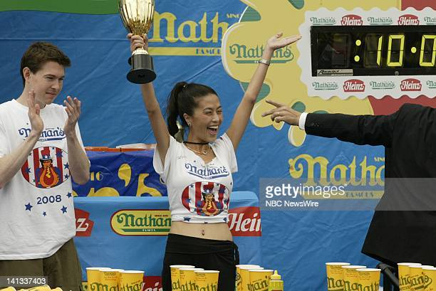 Contestant Juliet Lee of Maryland at the 2008 Nathan's Famous July Fourth International Hotdog eating contest in Brooklyn's Coney Island NY on July 4...