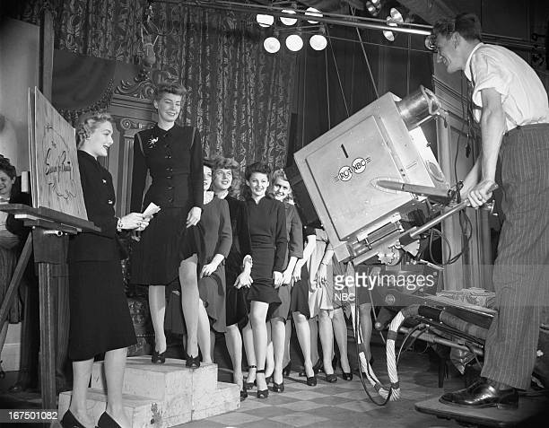 Contestants compete in the Goldmark Kantrum Hosiery 'Beautiful Legs Contest' in 1941