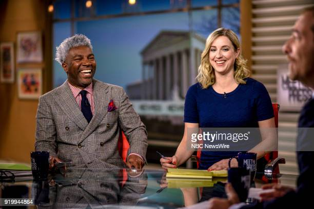Cornell Belcher MSNBC Political Analyst and Carol Lee Reporter NBC News appear on Meet the Press in Washington DC Sunday Feb 18 2018