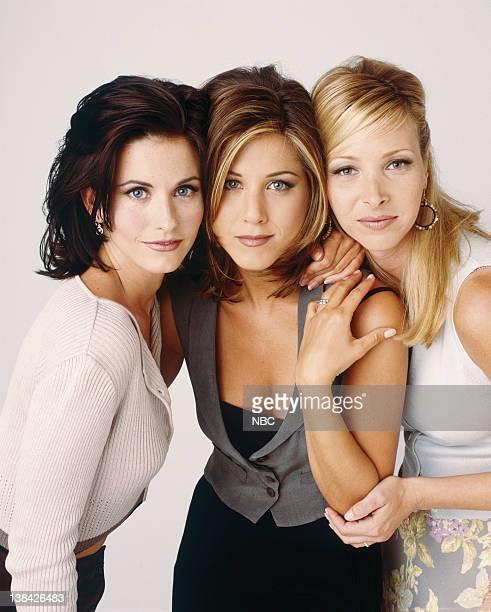 Courteney Cox as Monica Geller Jennifer Aniston as Rachel Green Lisa Kudrow as Phoebe Buffay in 'Friends' circa 1995