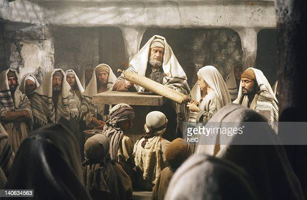 Pictured: Cyril Cusack as Yehuda, Lorenzo Monet as Jesus aged 12 years, Yorgo Voyagis as Joseph -- Photo by: NBC/NBCU Photo Bank