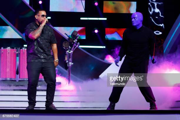 Daddy Yankee and Blue Man Group performs during rehearsals at the Watsco Center in the University of Miami Coral Gables Florida on April 26 2017