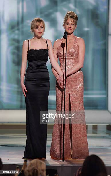 Dakota Johnson and Melanie Griffith on stage during The 63rd Annual Golden Globe Awards at the Beverly Hilton Hotel