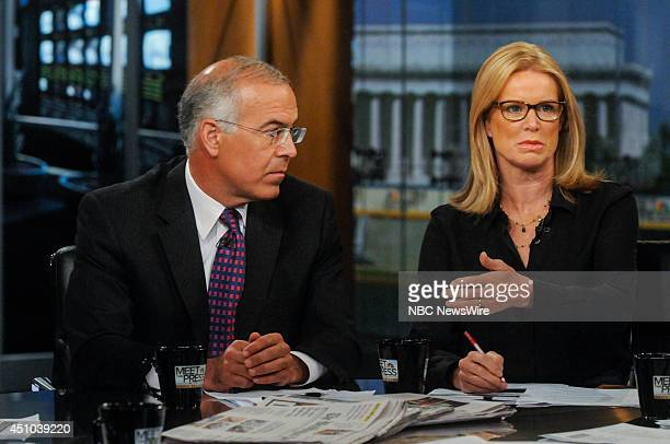 David Brooks Columnist The New York Times left and Katty Kay Anchor BBC World News America right appear on Meet the Press in Washington DC Sunday...