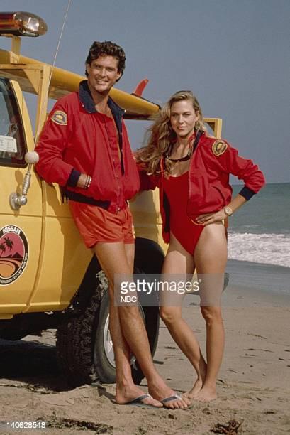 David Hasselhoff as Lt Mitch Buchannon Shawn Weatherly as Jill Riley Photo by Paul Drinkwater/NBCU Photo Bank
