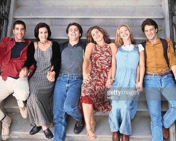 David Schwimmer as Ross Geller, Courteney Cox Arquette as Monica Geller, Matt LeBlanc as Joey Tribbiani, Jennifer Aniston as Rachel Green, Lisa...