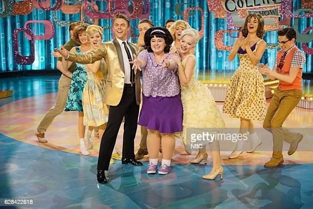 Pictured: Derek Hough as Corny Collins, Maddie Baillio as Tracy Turnblad, Dove Cameron as Amber Von Tussle --