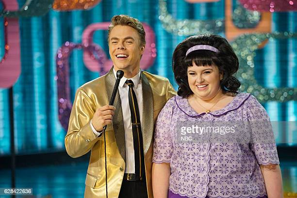 Pictured: Derek Hough as Corny Collins, Maddie Baillio as Tracy Turnblad --