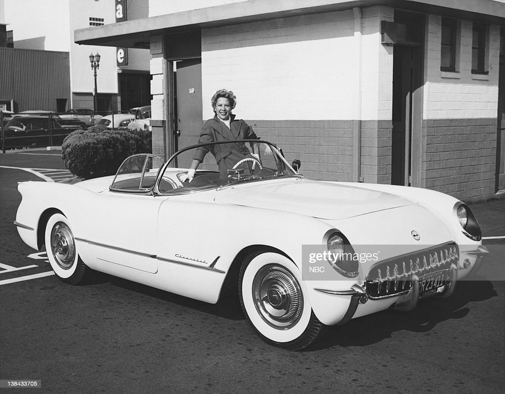 Dinah Shore at NBC Studios in Hollywood, CA in a 1953 Chevrolet Corvette Convertible