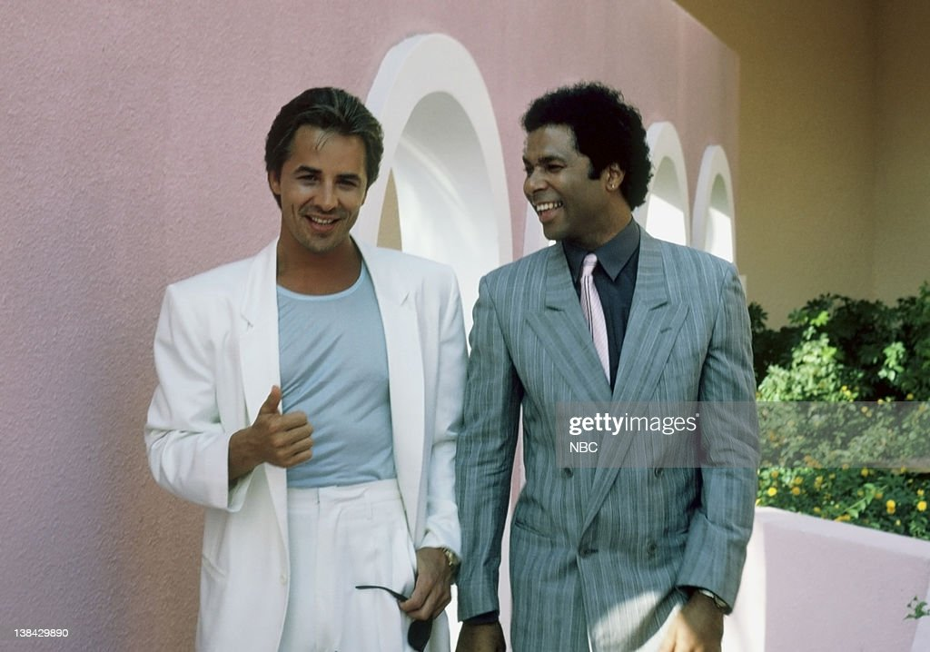 Don Johnson as Det. James 'Sonny' Crockett, Philip Michael Thomas as Det. Ricardo 'Rico' Tubbs