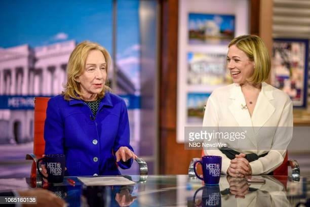 Doris Kearns Goodwin Presidential Historian and Elise Jordan NBC News Political Analyst Contributor TIME appear on Meet the Press in Washington DC...