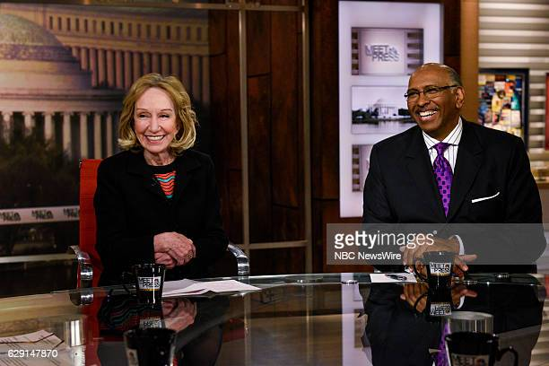Doris Kearns Goodwin Presidential Historian left and Michael Steele Former Chair Republican National Committee right appear on 'Meet the Press' in...